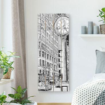 Produktfoto Wandgarderobe Holz - Stadtstudie - Flatiron Buidling - Haken chrom Hochformat