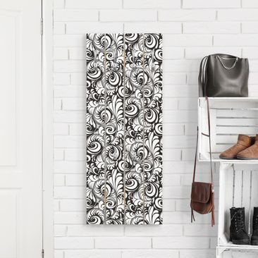 Produktfoto Wandgarderobe Holz - Black and White Leaves Pattern - Haken chrom Hochformat