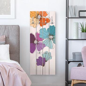 Produktfoto Wandgarderobe Holz - Mohn in Pastell - Haken chrom Hochformat