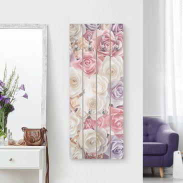 Produktfoto Wandgarderobe Holz - Pastell Paper Art Rosen - Haken chrom Hochformat