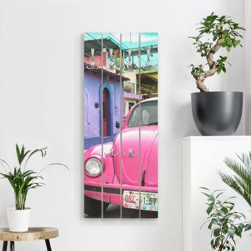 Produktfoto Wandgarderobe Holz - Pink VW Beetle - Haken chrom Hochformat