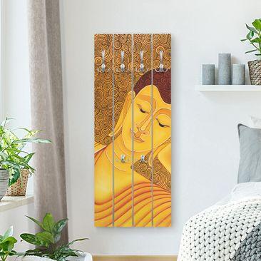 Produktfoto Wandgarderobe Holz - Shanghai Buddha - Haken chrom Hochformat