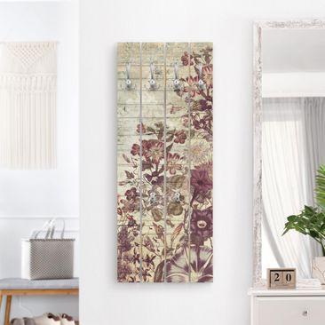 Produktfoto Wandgarderobe Holz - Vintage Blumen Holzoptik II - Haken chrom Hochformat