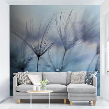 Immagine del prodotto Carta da parati adesiva - Piume blu sotto la pioggia - Formato quadrato