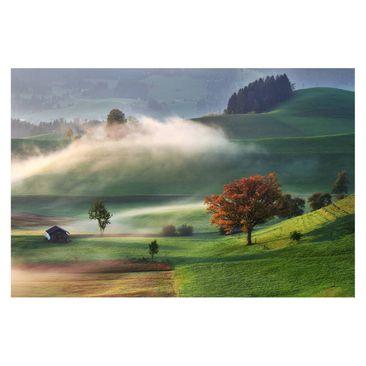 Produktfoto Fototapete - Nebliger Herbsttag Schweiz - Fototapete Breit