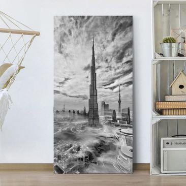 Produktfoto Leinwandbild - Dubai Super Skyline - Hochformat 2-1 vergrößerte Ansicht in Wohnambiente Artikelnummer 245738-XWA