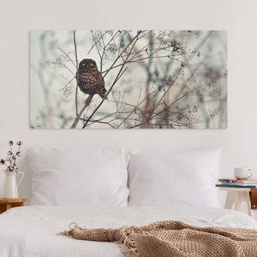 Produktfoto Leinwandbild - Eule im Winter - Querformat 1-2 vergrößerte Ansicht in Wohnambiente Artikelnummer 245778-XWA