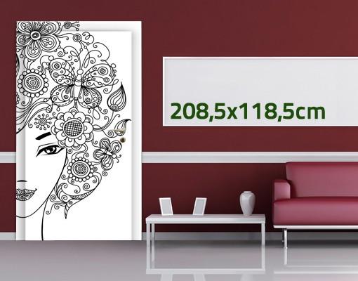 Produktfoto Türtapete Blumen selbstklebend -  Blumen im Haar