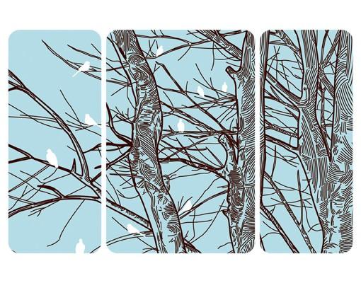Produktfoto Selbstklebendes Wandbild Winterbäume Triptychon II