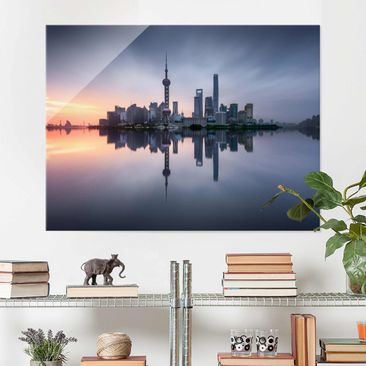 Produktfoto Glasbild - Shanghai Skyline Morgenstimmung - Querformat 3:4
