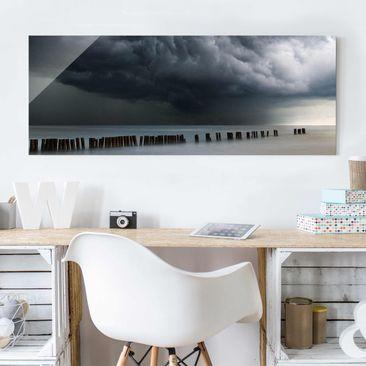 Produktfoto Glasbild - Sturmwolken über der Ostsee - Panorama