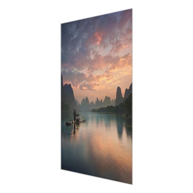 Produktfoto Glasbild - Sonnenaufgang über chinesischem Fluss - Hochformat 3:2