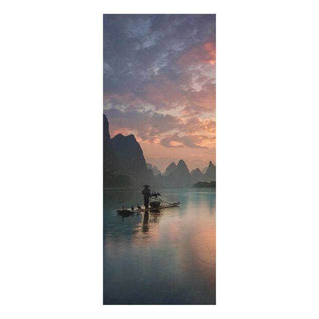 Produktfoto Glasbild - Sonnenaufgang über chinesischem Fluss - Panel