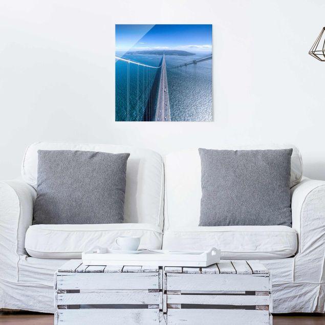 Produktfoto Glasbild - Brücke zur Insel - Quadrat 1:1