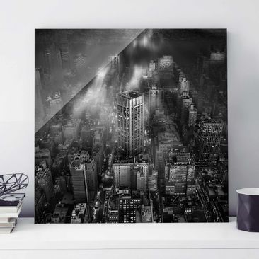 Produktfoto Glasbild - Sonnenlicht über New York City - Quadrat 1:1