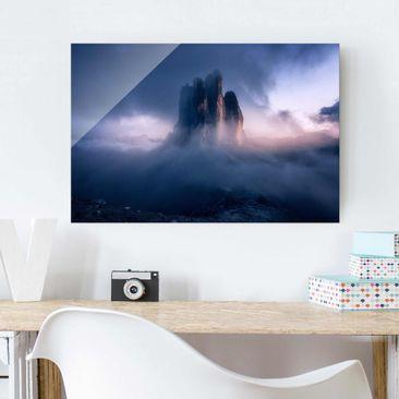 Produktfoto Glasbild - Drei Zinnen in blauem Licht - Querformat 2:3