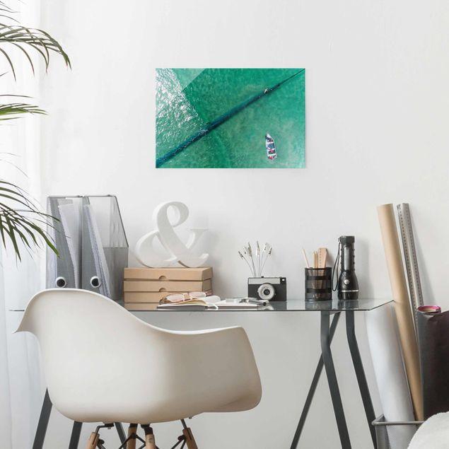 Produktfoto Glasbild - Luftbild - Fischer - Querformat 2:3