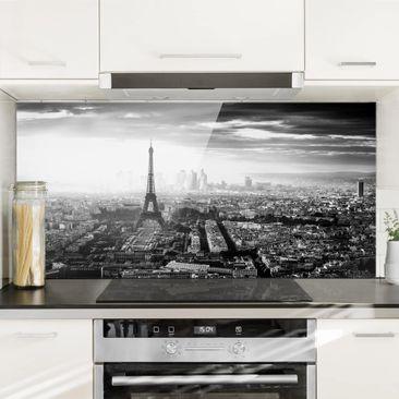 Immagine del prodotto Paraschizzi in vetro - La Torre Eiffel dall'alto in bianco e nero - Orizzontale 1:2