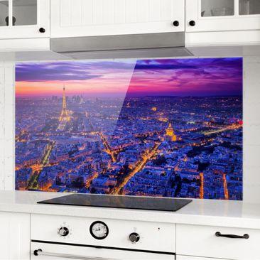 Immagine del prodotto Paraschizzi in vetro - Parigi di notte - Orizzontale 1:2