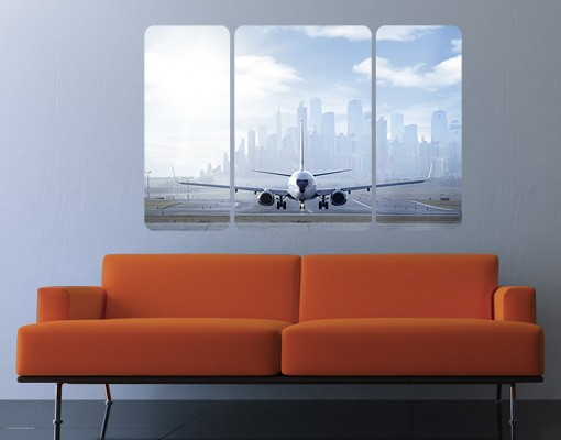 Produktfoto Selbstklebendes Wandbild Flugzeug vor dem Start Triptychon II