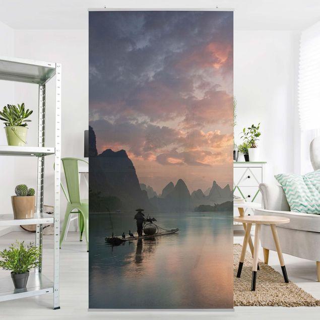 Produktfoto Raumteiler - Sonnenaufgang über chinesischem Fluss - 250x120cm