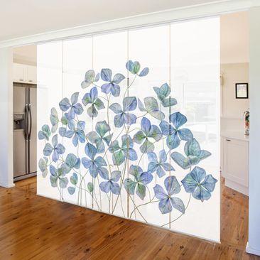 Produktfoto Schiebegardinen Set - Blaue Hortensienblüten - 5 Flächenvorhänge