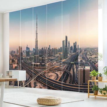 Produktfoto Schiebegardinen Set - Abendstimmung in Dubai - 6 Flächenvorhänge