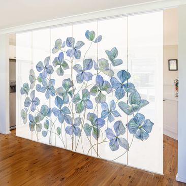 Produktfoto Schiebegardinen Set - Blaue Hortensienblüten - 6 Flächenvorhänge