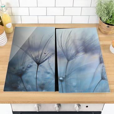 Immagine del prodotto Coprifornelli in vetro - Piume blu Sotto La Pioggia - 52x60cm