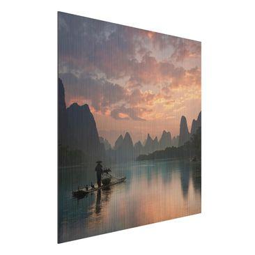 Immagine del prodotto Stampa su alluminio spazzolato - Alba sul fiume cinese - Quadrato 1:1