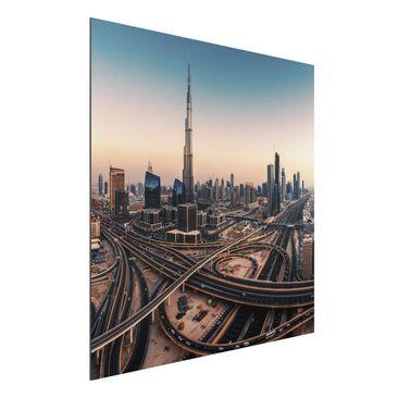 Produktfoto Aluminium Print - Abendstimmung in Dubai - Quadrat 1:1