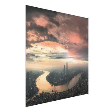 Produktfoto Forex Fine Art Print - Shanghai am Morgen - Quadrat 1:1