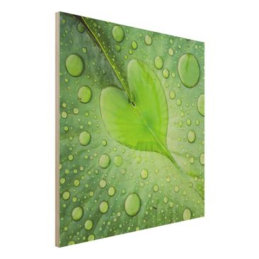 Produktfoto Holzbild - Herz aus Morgentau - Quadrat 1:1