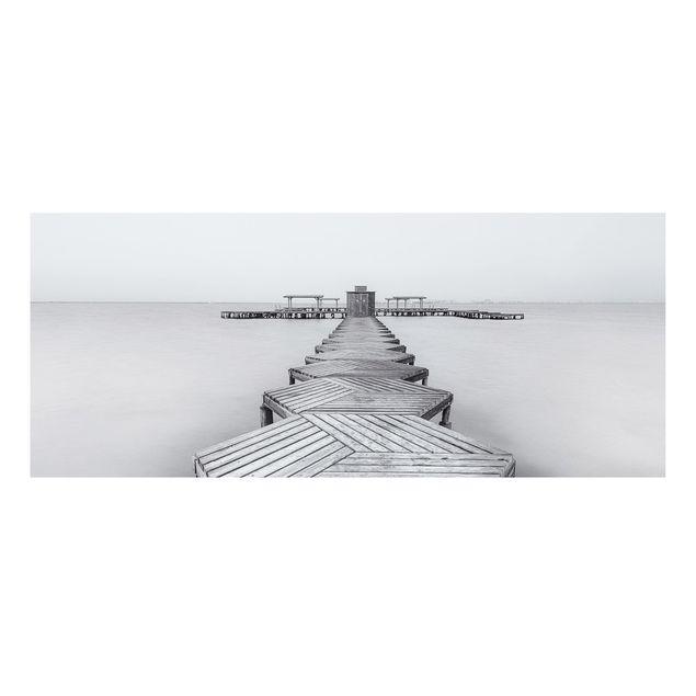 Produktfoto Forex Fine Art Print - Hölzerner Pier und Schwarz-weiß - Panorama