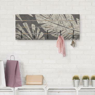 Produktfoto Wandgarderobe Holz - Palmenblätter vor Dunkelgrau - Haken schwarz Querformat