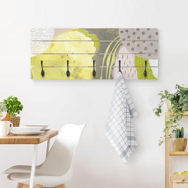 Produktfoto Wandgarderobe Holz - Sonnenflecken II - Haken schwarz Querformat