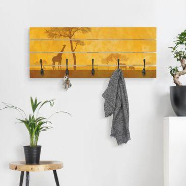 Produktfoto Wandgarderobe Holz - Amazing Kenya - Haken schwarz Querformat
