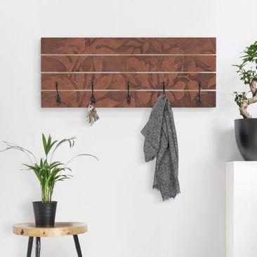 Produktfoto Wandgarderobe Holz - Lederstruktur - Haken schwarz Querformat
