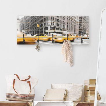 Produktfoto Wandgarderobe Holz - Rasantes New York - Haken schwarz Querformat