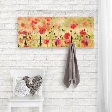 Produktfoto Wandgarderobe Holz - Summer Poppies - Haken schwarz Querformat