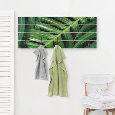 Produktfoto Wandgarderobe Holz - Tropische Blätter Philodendron - Haken schwarz Querformat