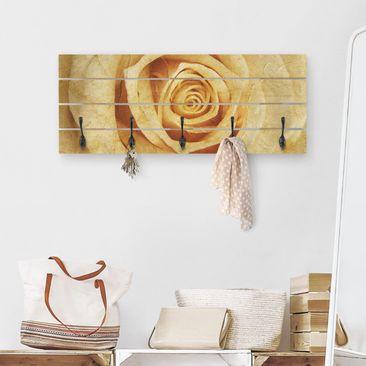 Produktfoto Wandgarderobe Holz - Vintage Rose - Haken schwarz Querformat