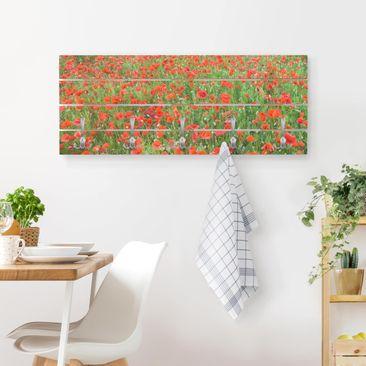 Produktfoto Wandgarderobe Holz - Mohnblumenfeld - Haken chrom Querformat
