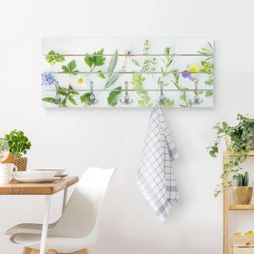 Produktfoto Wandgarderobe Holz - Kräuter und Blüten - Haken chrom Querformat
