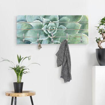 Produktfoto Wandgarderobe Holz - Sukkulente Aquarell Dunkel - Haken chrom Querformat