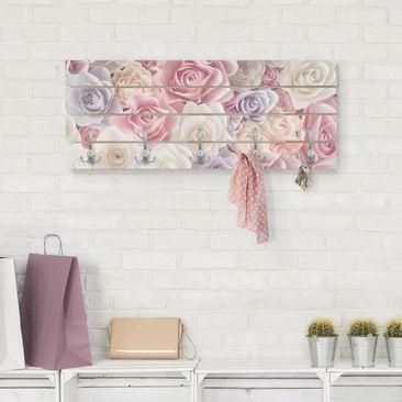 Produktfoto Wandgarderobe Holz - Pastell Paper Art Rosen - Haken chrom Querformat