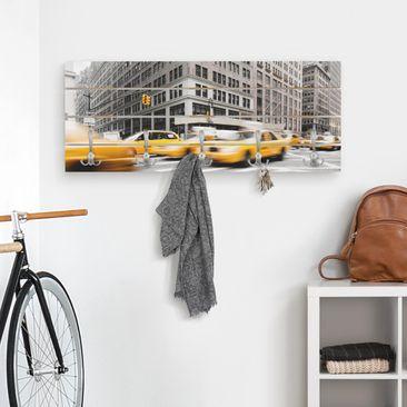 Produktfoto Wandgarderobe Holz - Rasantes New York - Haken chrom Querformat