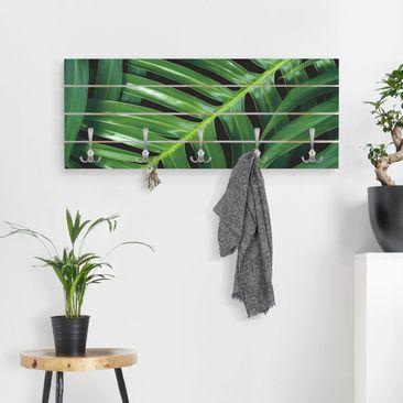 Produktfoto Wandgarderobe Holz - Tropische Blätter Philodendron - Haken chrom Querformat