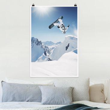 Produktfoto Poster - Fliegender Snowboarder - Hochformat 3-2 Material matt Artikelnummer 249705-CU