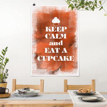 Produktfoto Poster - No.EV71 Keep Calm And Eat A Cupcake - Hochformat 3-2 vergrößerte Ansicht in Wohnambiente Artikelnummer 249757-XWA